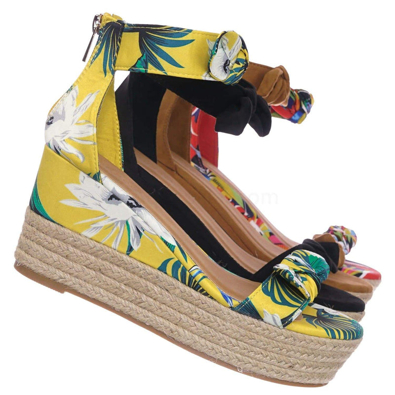Yellow Floral / Olson19 YelMul Espadrille Jute Rope Braided Wedge Sandal - Women Bow Floral Ankle Strap
