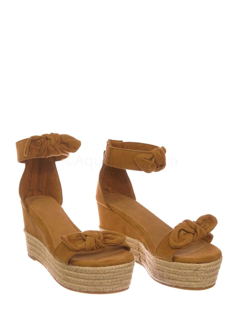 Tan Brown F-Suede / Olson19 TanFs Espadrille Jute Rope Braided Wedge Sandal - Women Bow Floral Ankle Strap