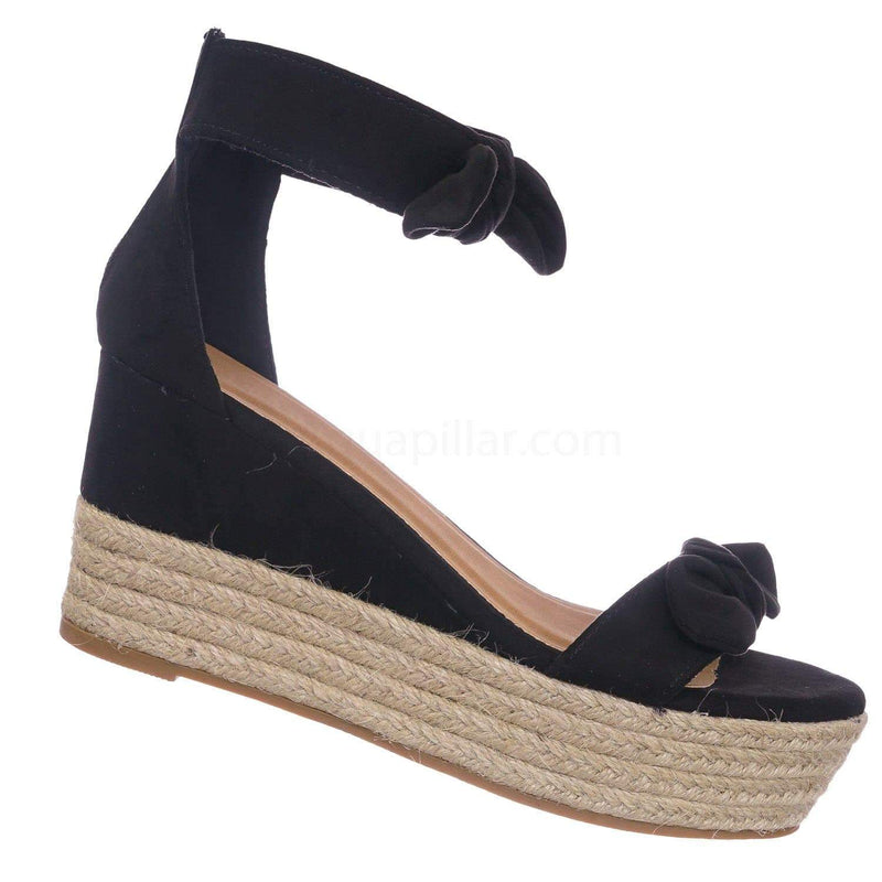 Black f-Suede / Olson19 BlkFs Espadrille Jute Rope Braided Wedge Sandal - Women Bow Floral Ankle Strap