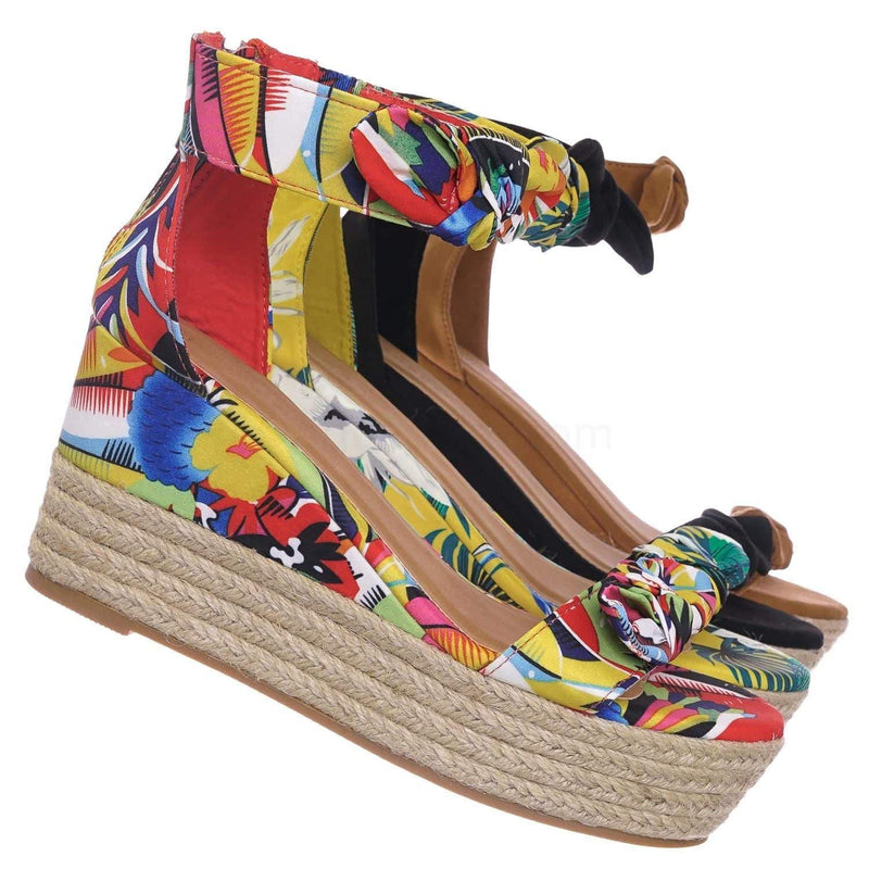 Orange Floral / Olson19 OrgMul Espadrille Jute Rope Braided Wedge Sandal - Women Bow Floral Ankle Strap