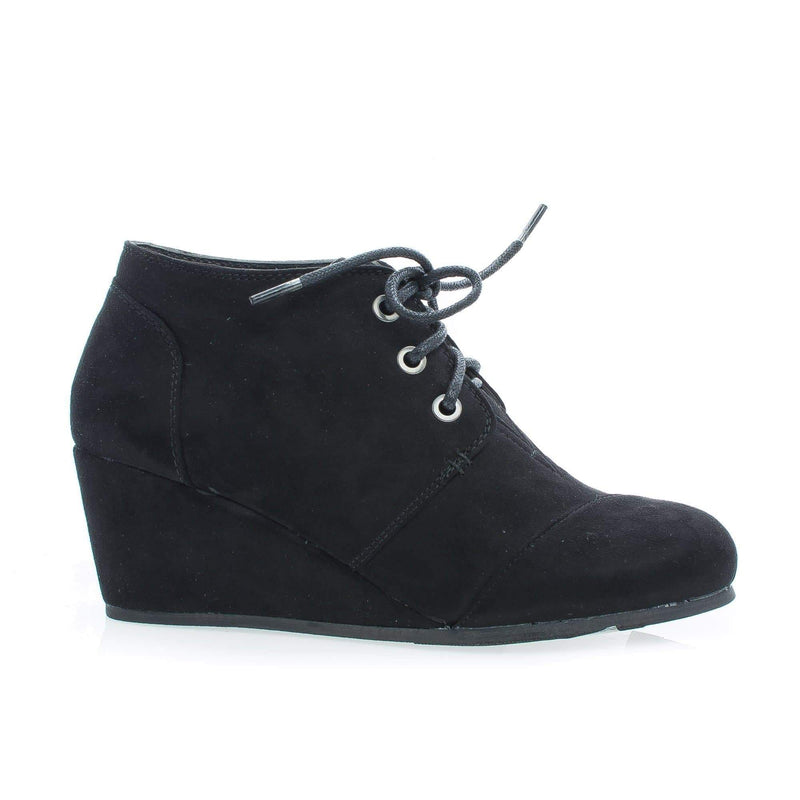 Paddy01 Black By Bamboo, Round Toe Lace Up Hidden Wedge Heel Ankle Bootie