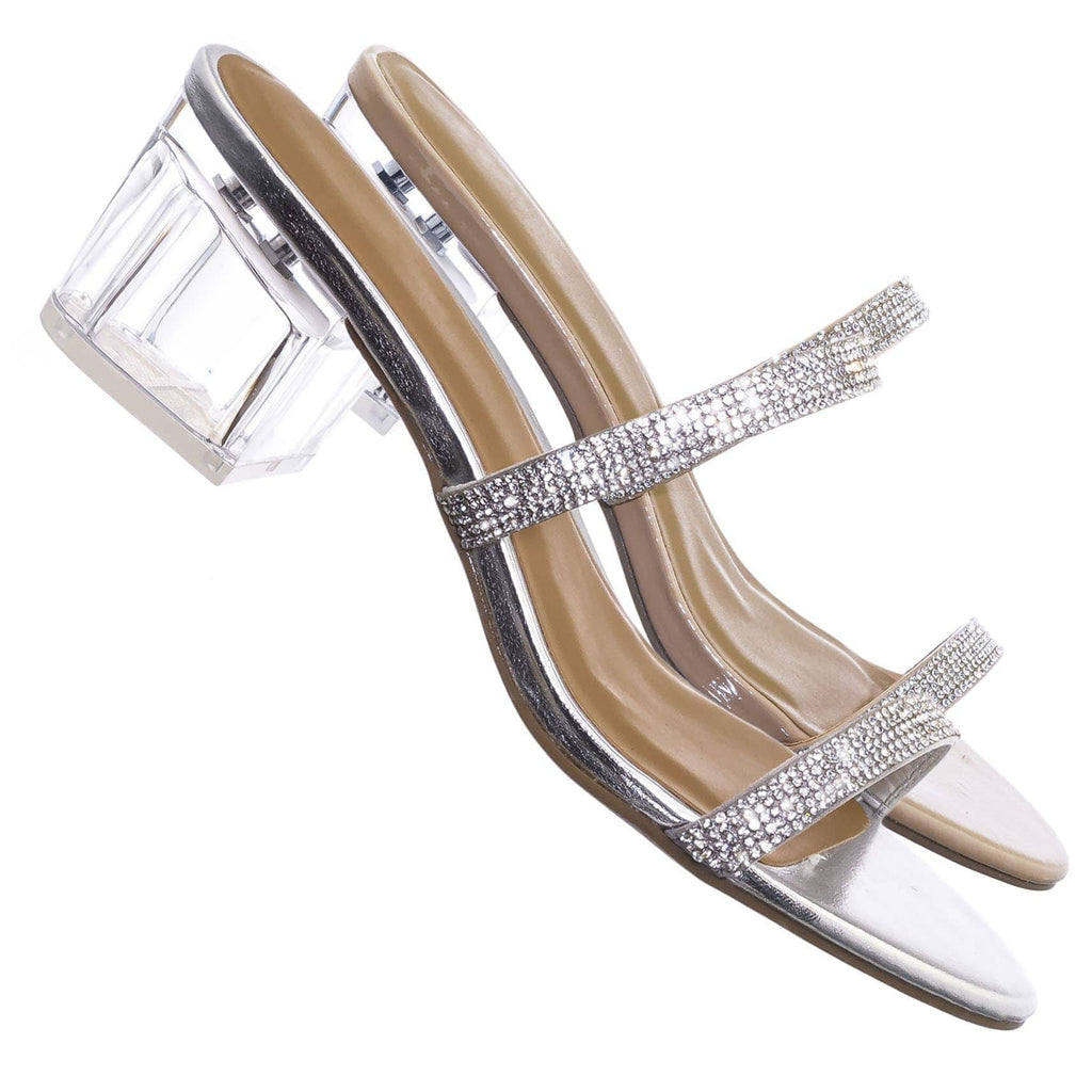 Peak07 Rhinestone Crystal Slide On Heel Sandals - Womens Double Strap Party Shoe