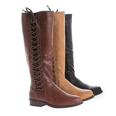 Pilot17 Brown By Bamboo, Knee High Corset Lace Faux Wooden Heel Riding Boots
