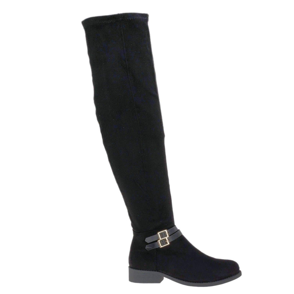 Pilot32M Black By Bamboo, Biker / Riding Over Knee Boots w Stack Heel & Wraparound Buckle Strap