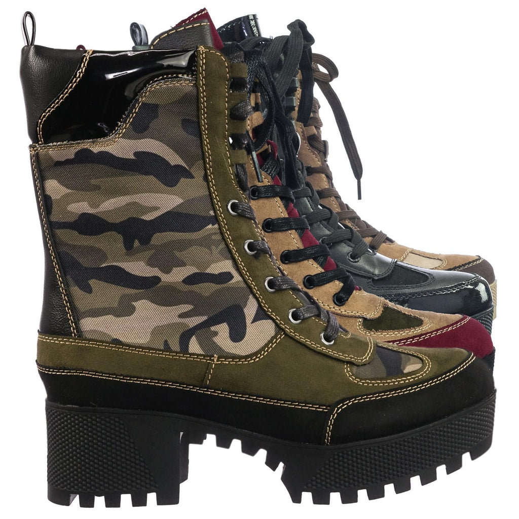 Camouflage Green / Powerful06 Faux Fur Lninig Combat Boots - Military Lug Sole Color Block Shoes