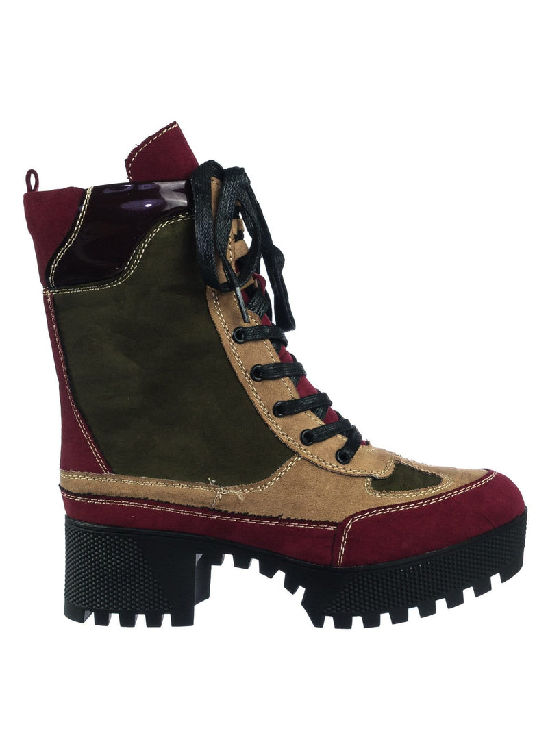 Burgundy / Powerful06 Faux Fur Lninig Combat Boots - Military Lug Sole Color Block Shoes