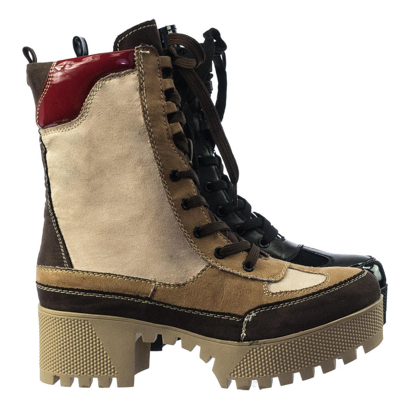 Camel Brown / Powerful06 Faux Fur Lninig Combat Boots - Military Lug Sole Color Block Shoes