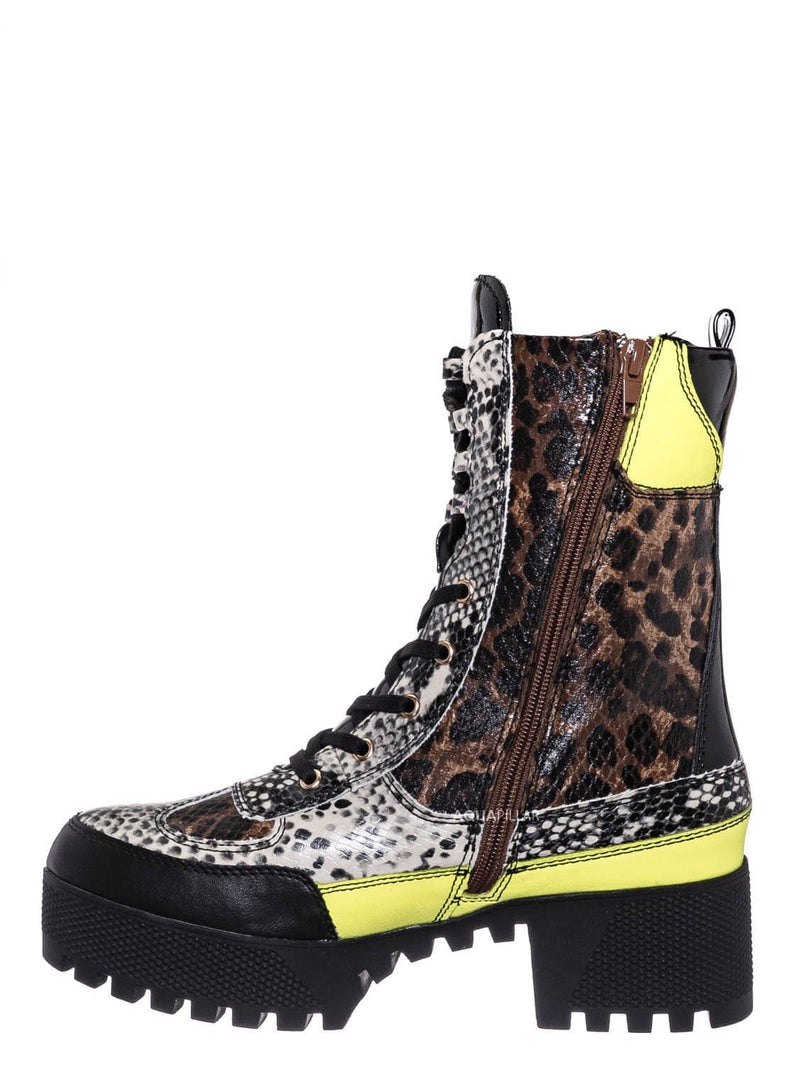 Leopard Snake / Powerful06 Faux Fur Lninig Combat Boots - Military Lug Sole Color Block Shoes