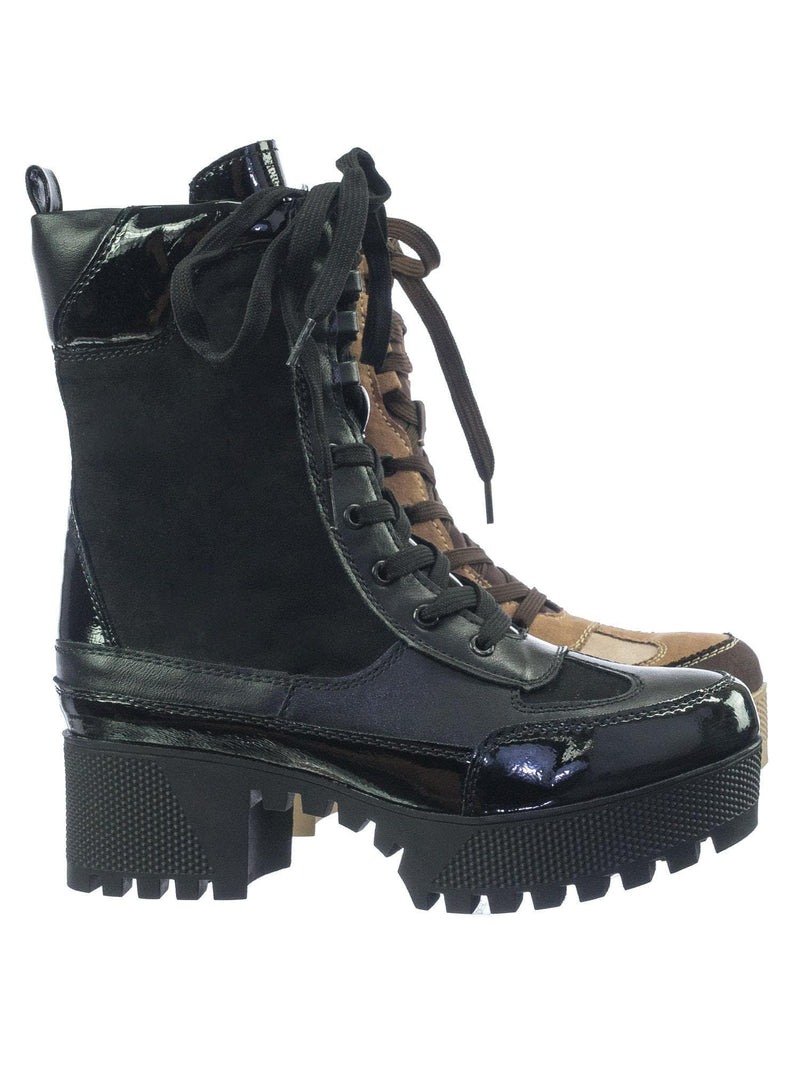 Black / Powerful06 Faux Fur Lninig Combat Boots - Military Lug Sole Color Block Shoes