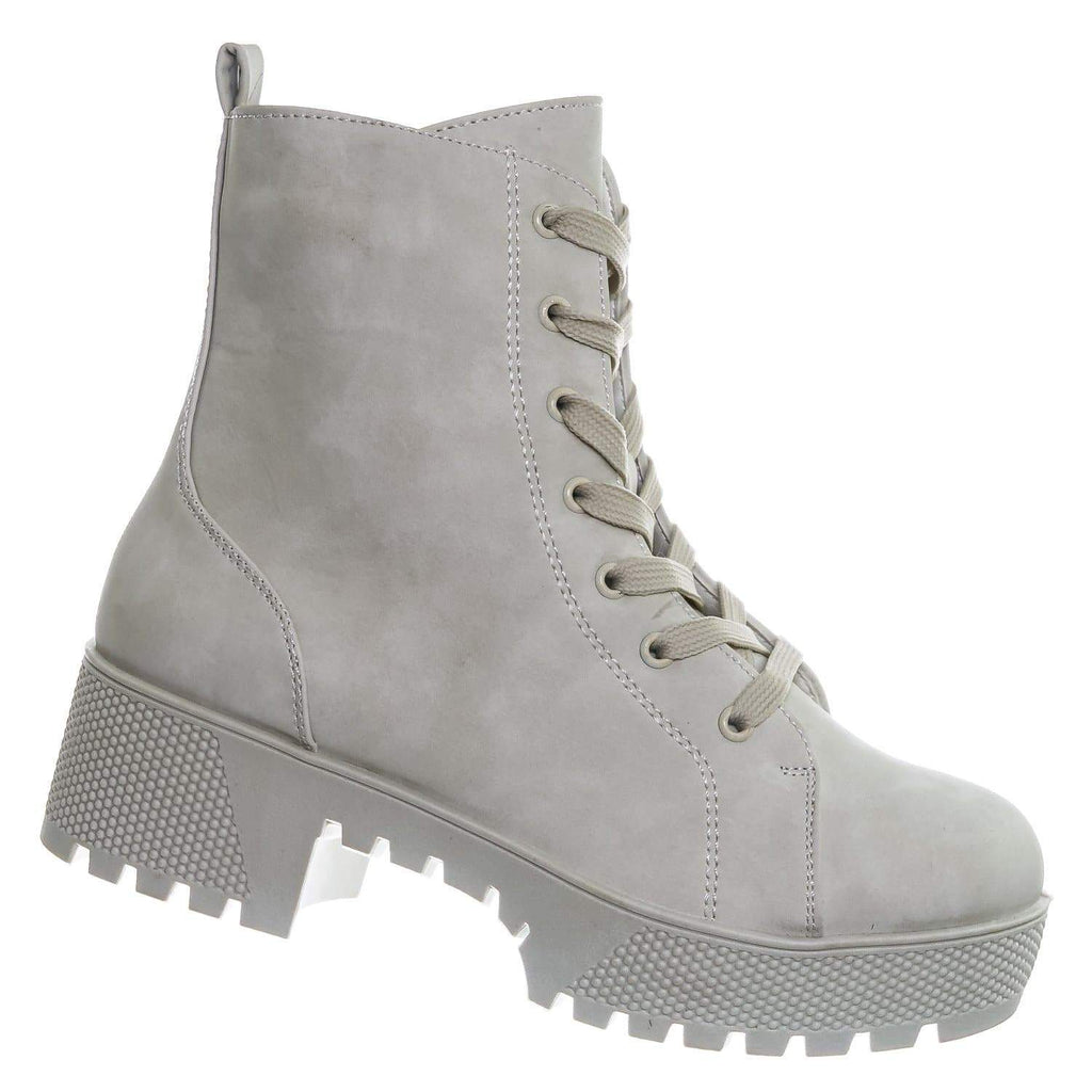 White Nubuck / Powerful27 WhtNub F-Fur Lined Combat Bootie - Women Lug Sole Military Lace Up Boots