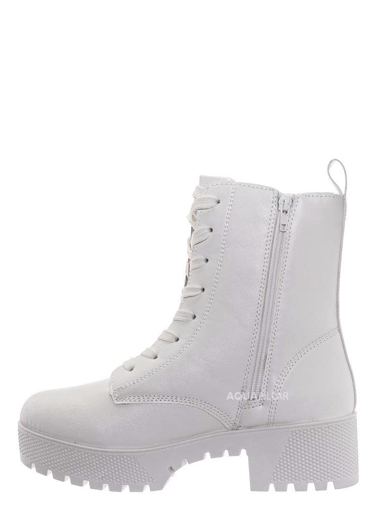 White Leatherette / Powerful47 Fashion Combat Boots