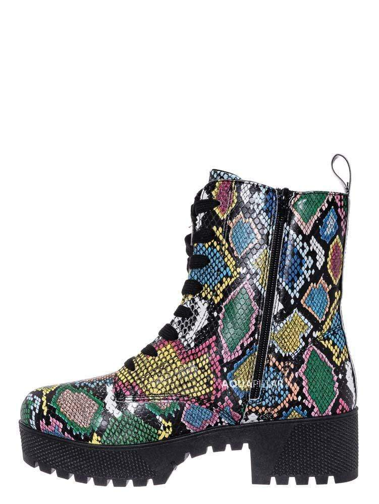 multi Snake Print / Powerful47 Fashion Combat Boots
