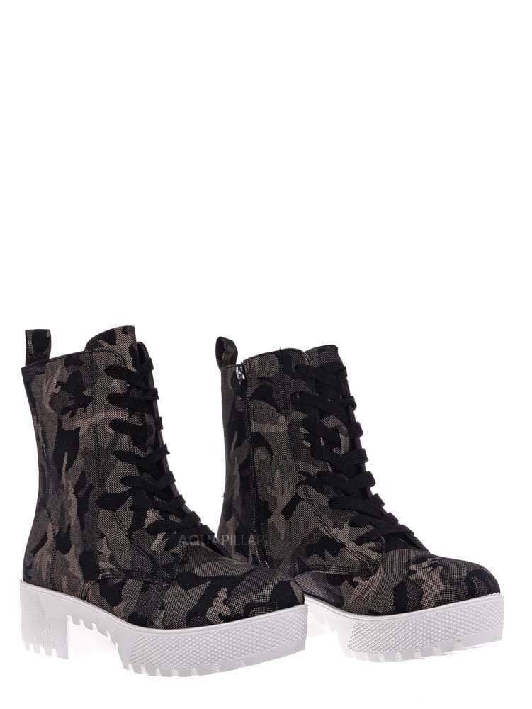 Gray Camoflage Print / Powerful47 Fashion Combat Boots