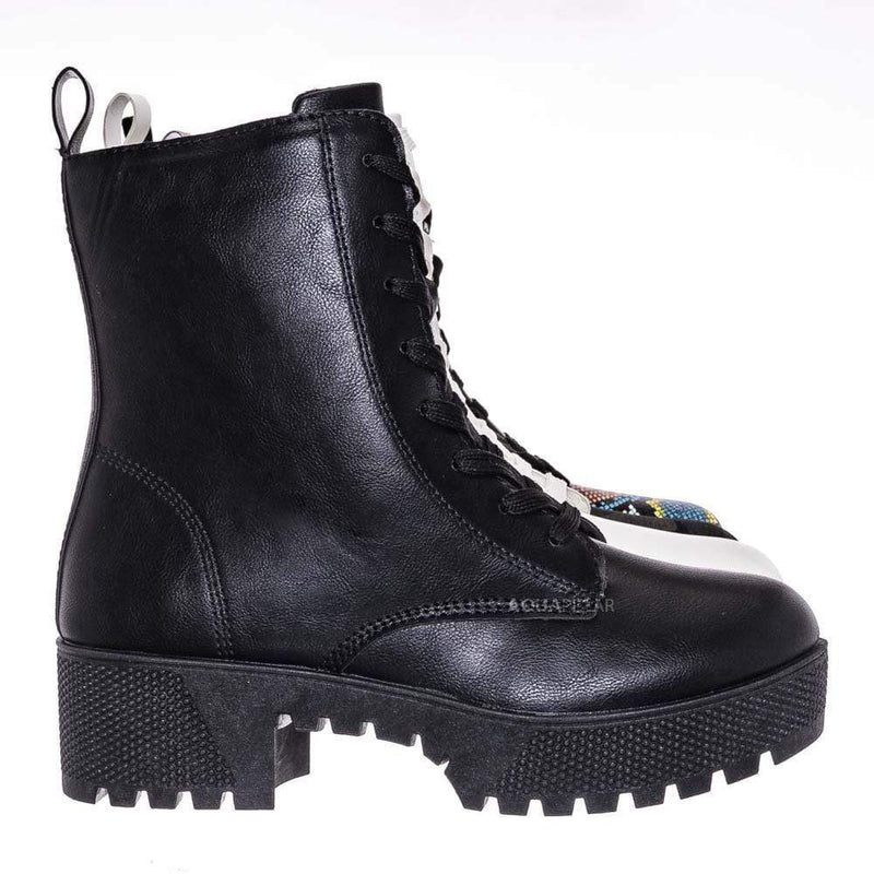 Black Leatherette / Powerful47 Fashion Combat Boots