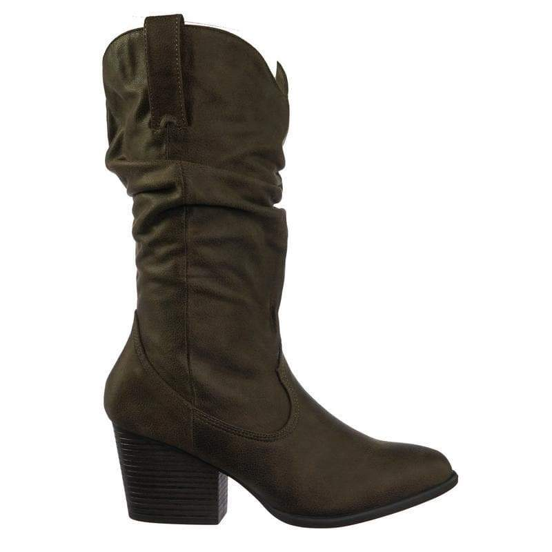 Rancher07 TauTts Faux Fur Inner Lining Western Cowboy Block High Heel Dress Boots