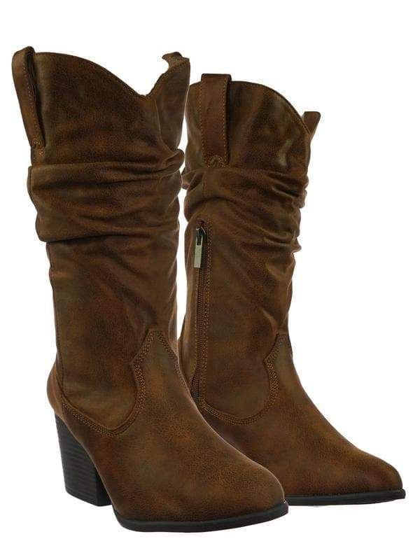 Rancher07 ChnTts Faux Fur Inner Lining Western Cowboy Block High Heel Dress Boots
