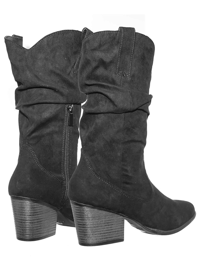 Rancher07 BlkFs Faux Fur Inner Lining Western Cowboy Block High Heel Dress Boots