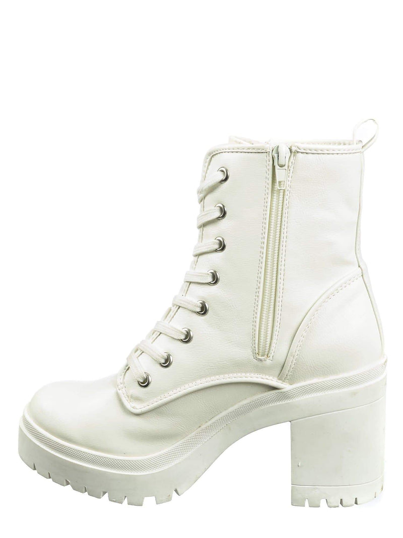 White Crp / Regal01 White Crp Faux Fur Lined Combat Booties - Womens Laced Up Chunky Block Heels
