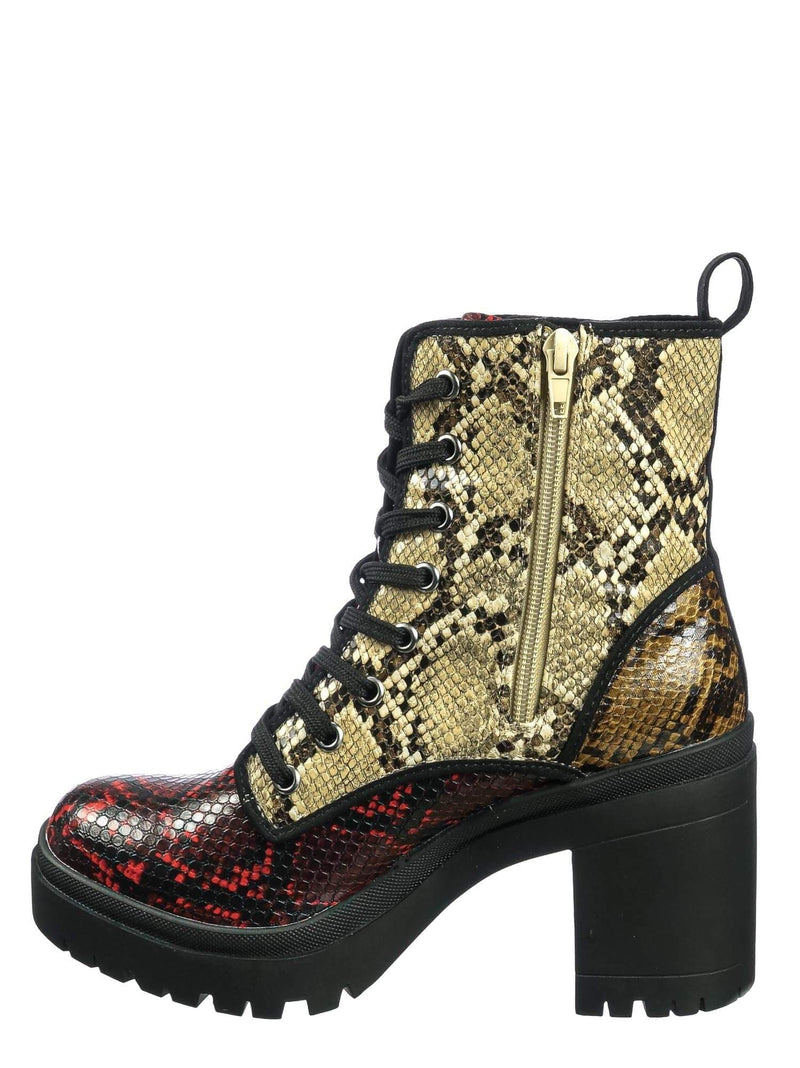 Snake Multi / Regal01 Snake Multi Faux Fur Lined Combat Booties - Womens Laced Up Chunky Block Heels