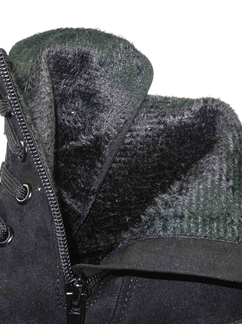 Black F-Suede / Regal01 Black F-Suede Faux Fur Lined Combat Booties - Womens Laced Up Chunky Block Heels