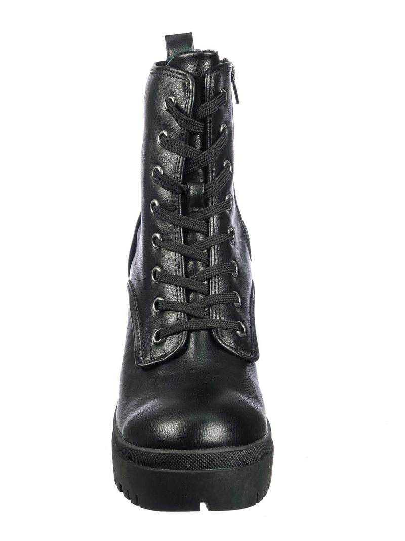 Black Crp / Regal01 Black Crp Faux Fur Lined Combat Booties - Womens Laced Up Chunky Block Heels