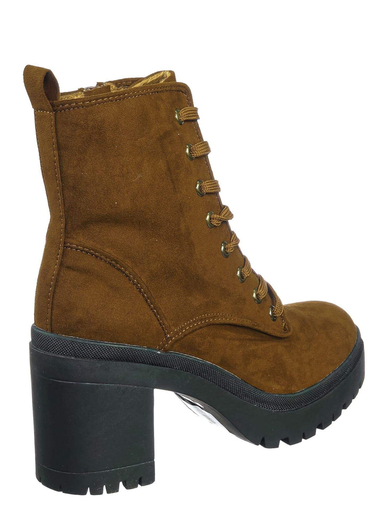 Tobacco F-Suede / Regal01 Tobacco F-Suede Faux Fur Lined Combat Booties - Womens Laced Up Chunky Block Heels