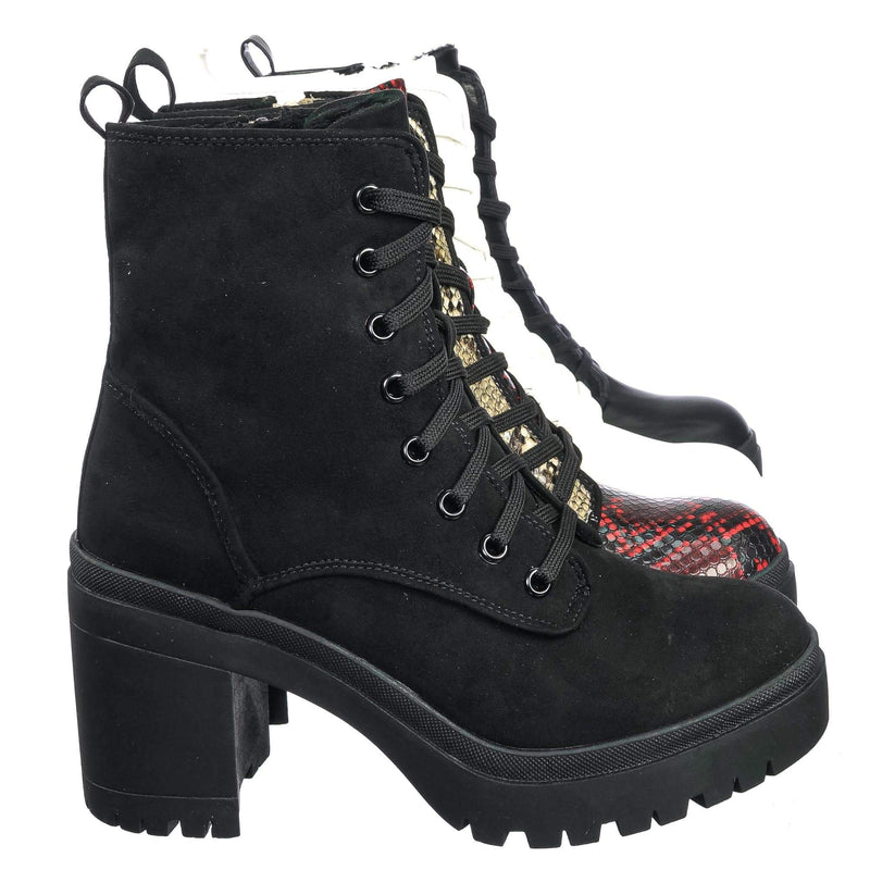 Regal01 Faux Fur Lined Combat Booties - Womens Laced Up Chunky Block Heels