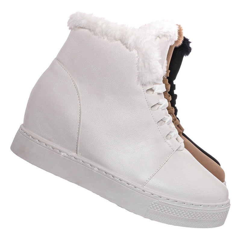 White CRP / Rise18 Hidden Wedge Faux Fur Sneaker - Shearling Lace Up Platform Ankle Bootie