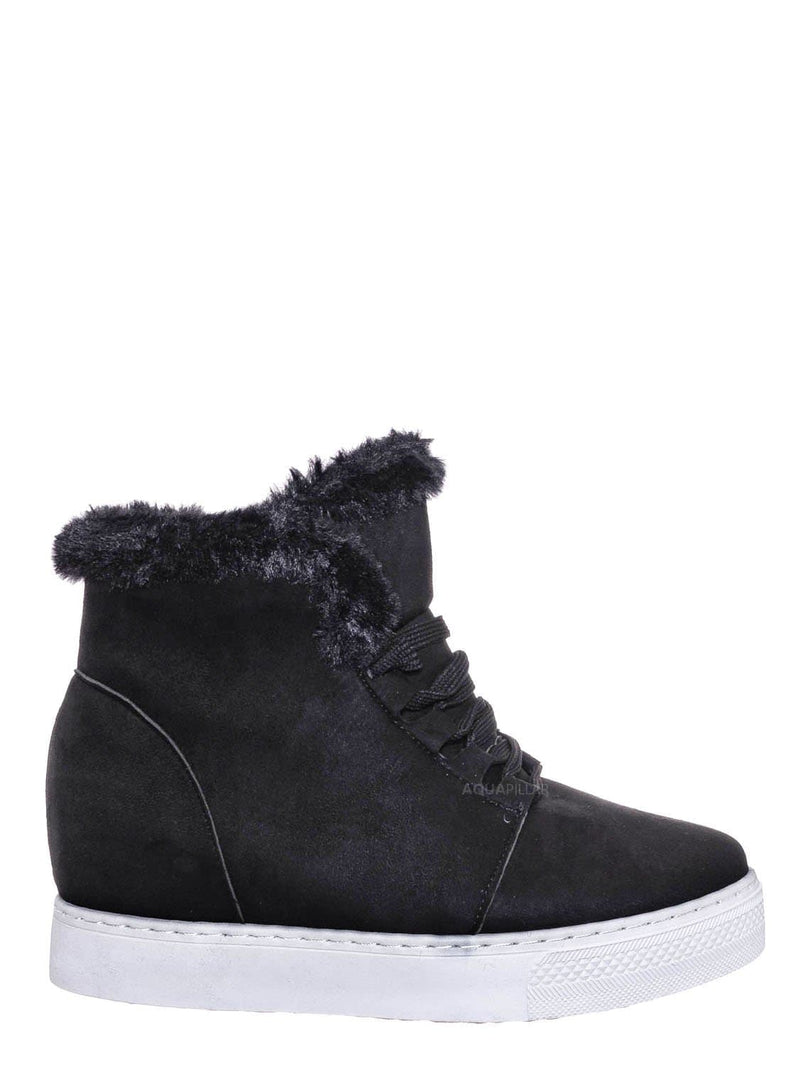Black F-Suede / Rise18 Hidden Wedge Faux Fur Sneaker - Shearling Lace Up Platform Ankle Bootie