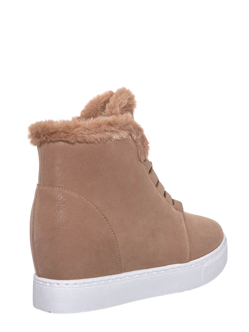 Camel Beige / Rise18 Hidden Wedge Faux Fur Sneaker - Shearling Lace Up Platform Ankle Bootie