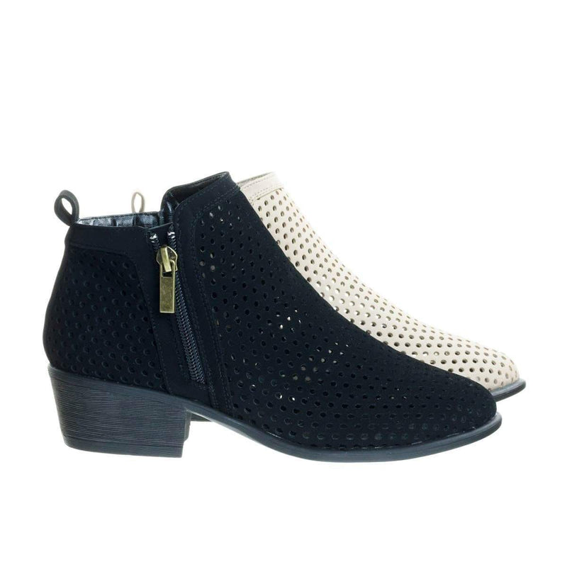 Sadie32 Low Stack Block Heel Ankle Booties w Laser Circle Perforated Holes