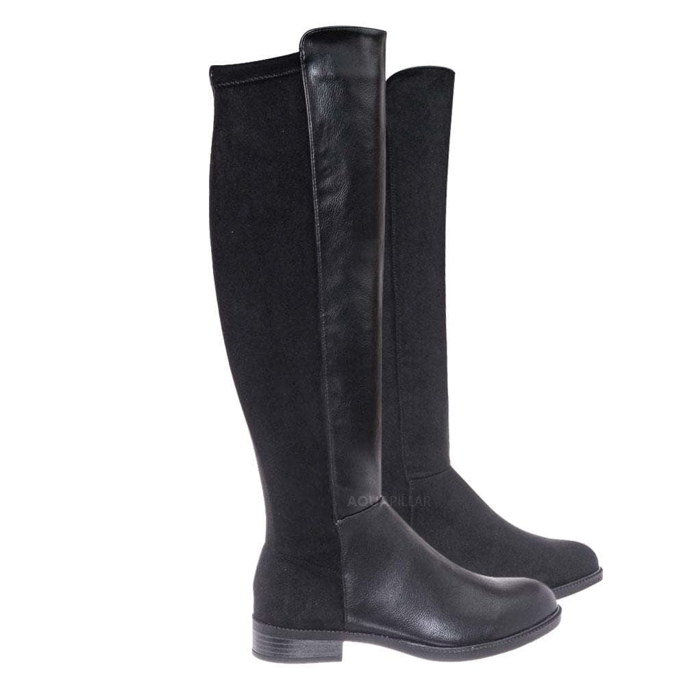 Black Leatherette and suede / Sector08 Duo Fabric Knee High Riding Boots