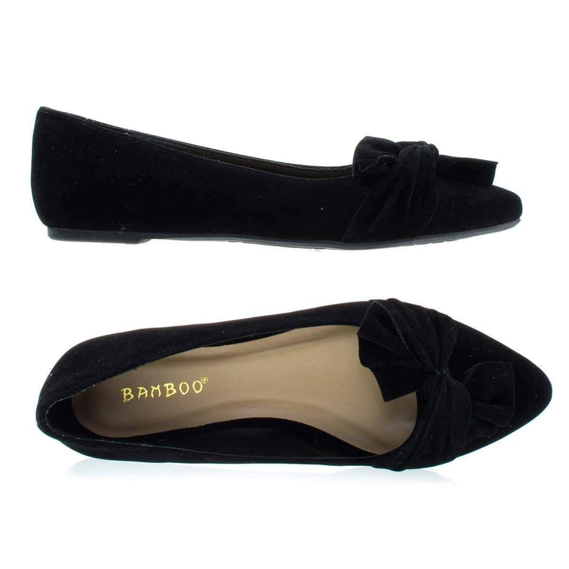 Series13s By Bamboo, Women's Ballet Pointed Close Toe Dress Flat Pump w Over Sized Bow