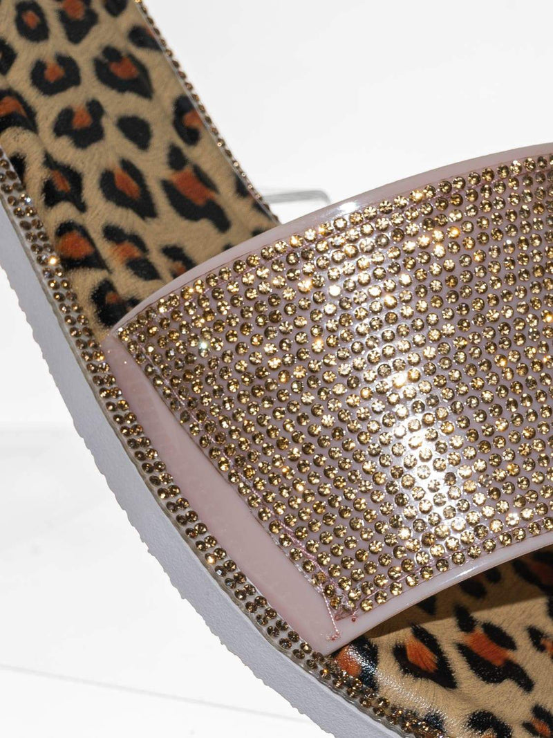 Gold Multi / Share01 Jelly Rhinestone Crystal Slipper - Animal Print Clear Lucite Sandal