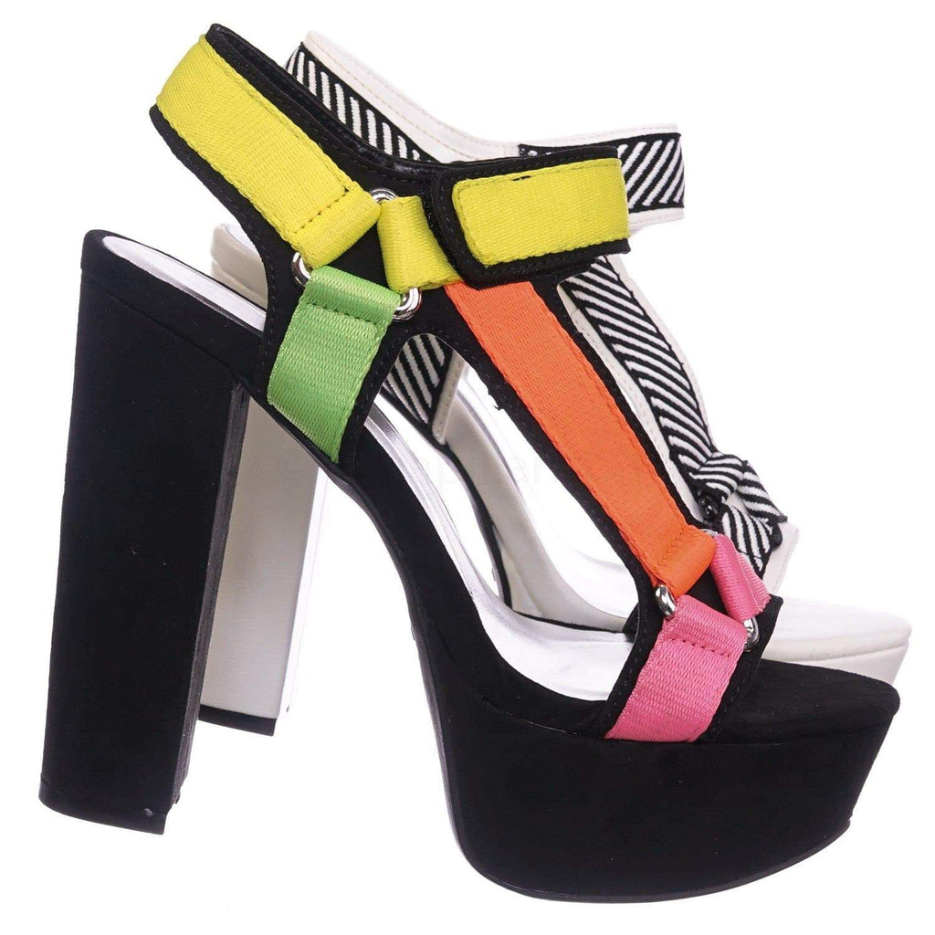 Multi Color Block / Shocking02 BlkMul Sporty Web Hook & Loop Sandal - Women Snap On Spandex Block Heels