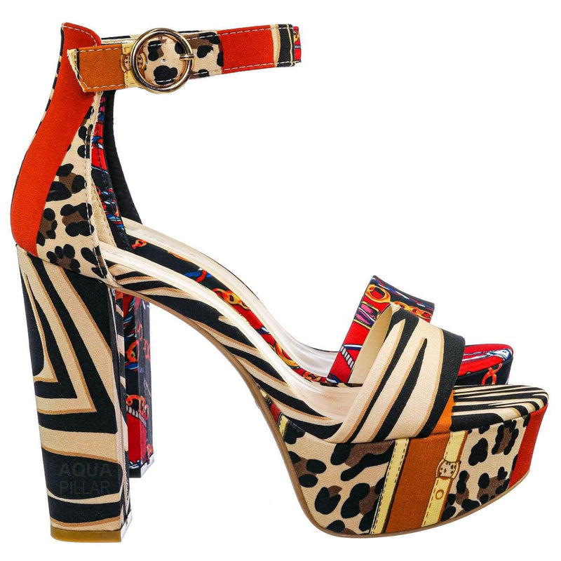 Leopard Brown / Shocking23 Festive Chunky Block Heel Sandal -Women Open Toe Dressy Platform Shoe