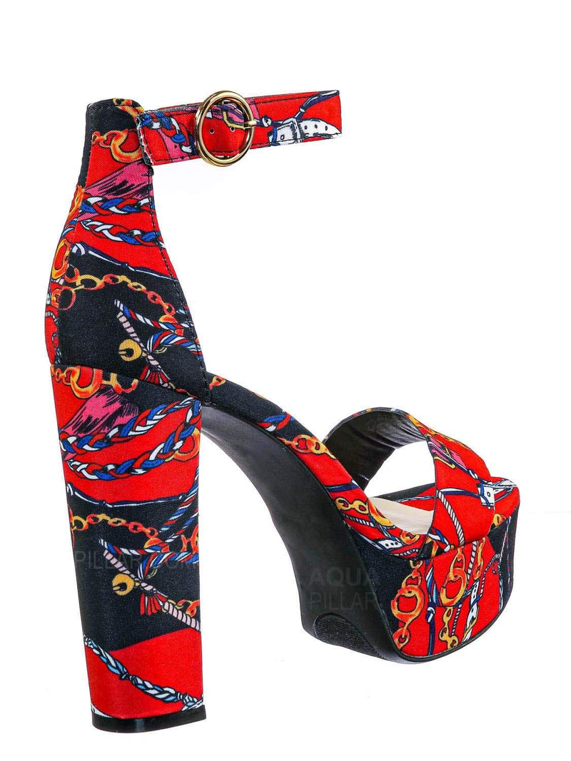 Black Mul / Shocking23 Festive Chunky Block Heel Sandal -Women Open Toe Dressy Platform Shoe