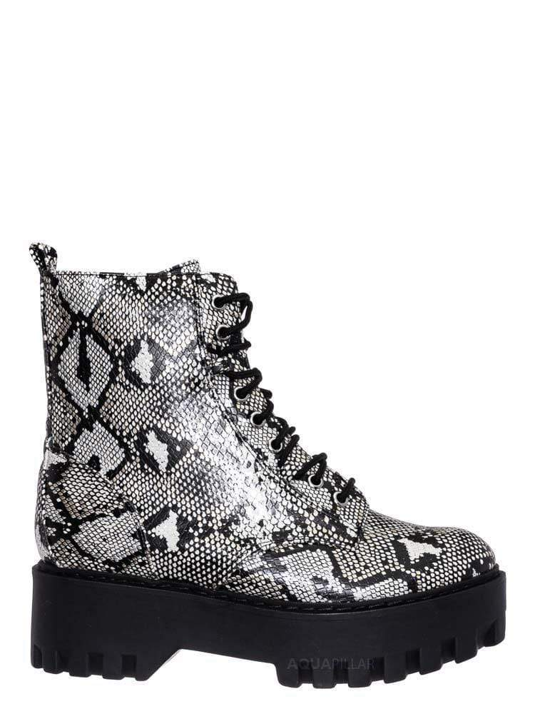 Metallic Snake / Staging01 Chunky Edgy Lug Sole Combat Boot- Army Military Threaded Rugged Bootie