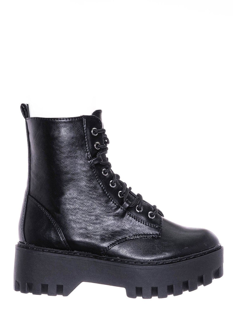 Black / Staging01 Chunky Edgy Lug Sole Combat Boot- Army Military Threaded Rugged Bootie