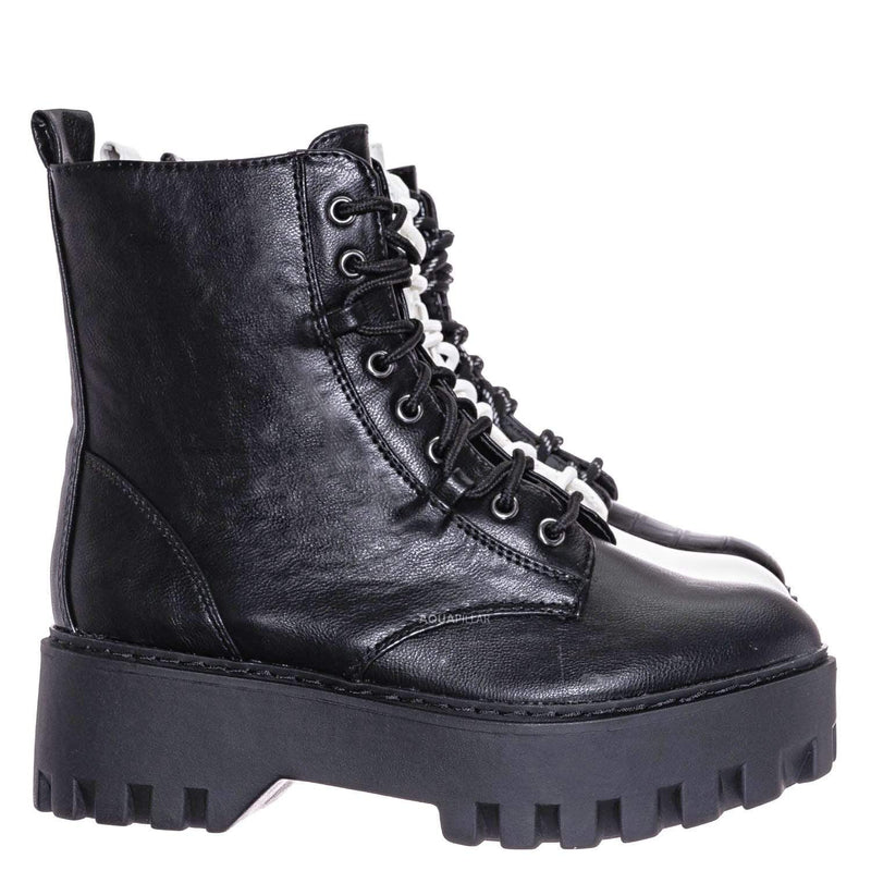 Staging01 Chunky Edgy Lug Sole Combat Boot- Army Military Threaded Rugged Bootie