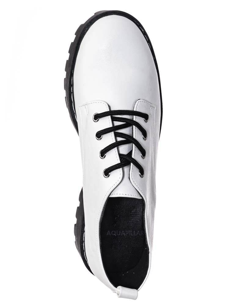 White Crp / Staging07 Chunky Lug Sole Oxford Shoes - Threaded Lace Up Shootie