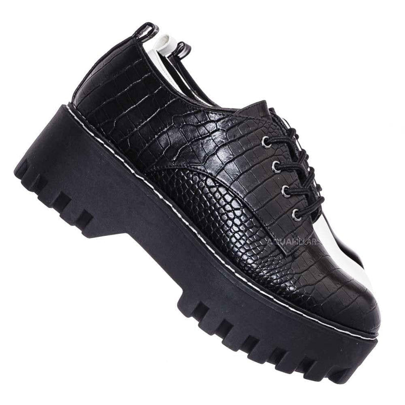 Black Croc Print / Staging07 Chunky Lug Sole Oxford Shoes - Threaded Lace Up Shootie