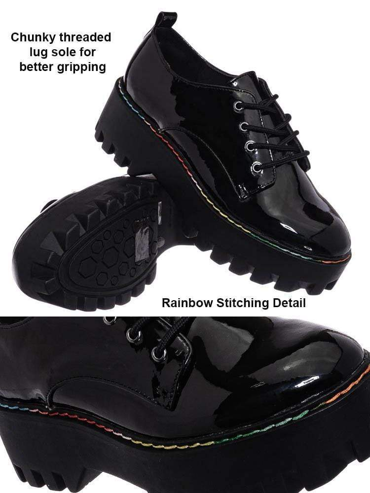 Black w Rainbow / Staging07 Chunky Lug Sole Oxford Shoes - Threaded Lace Up Shootie