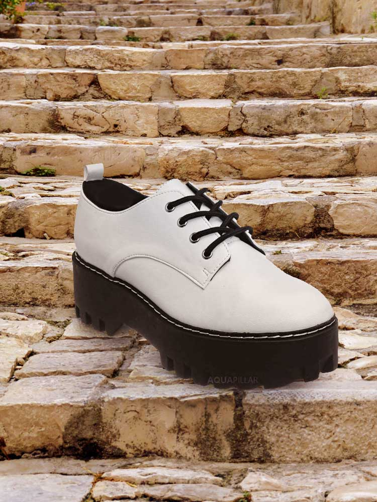 Staging07 Chunky Lug Sole Oxford Shoes - Threaded Lace Up Shootie