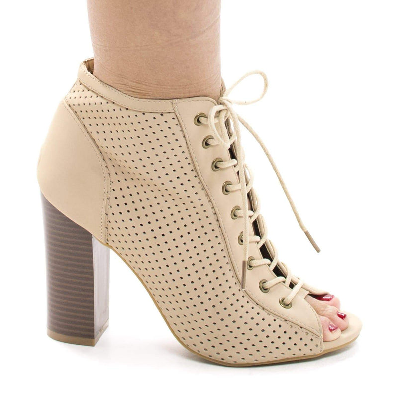 Stash31M Nude By Bamboo, Peep Toe Corset Lace Up Laser Perforated Stacked Heel Booties