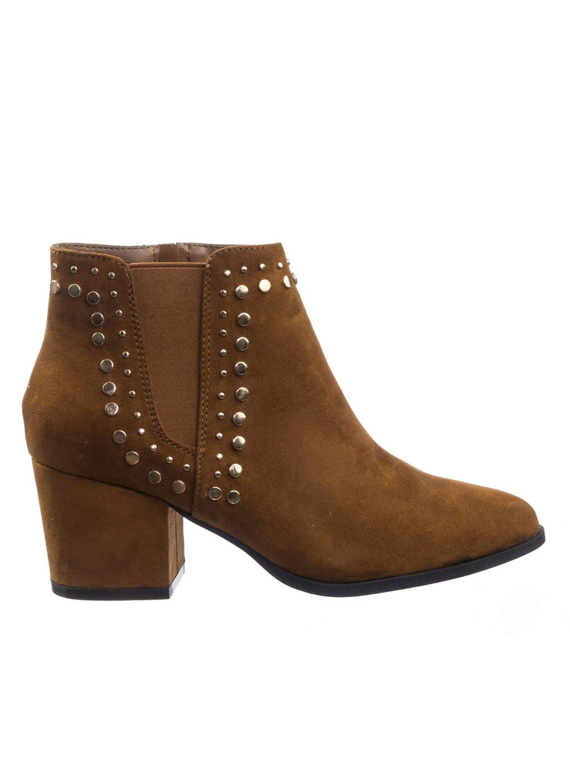 State11 ChnFs Metal Stud Block Heel Chelsea Dress Ankle Bootie For Women