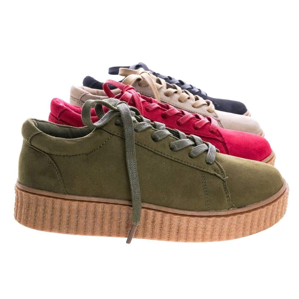 Stealthy01M By Bamboo, Classic Round Toe Lace Up Flats With Platform Ribbed Tooling Sneaker