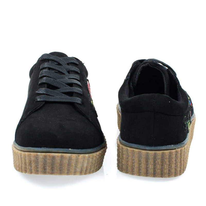 Stealthy02M By Bamboo, Embroidered Floral Patchwork Platform Lace Up Creeper Sneaker.