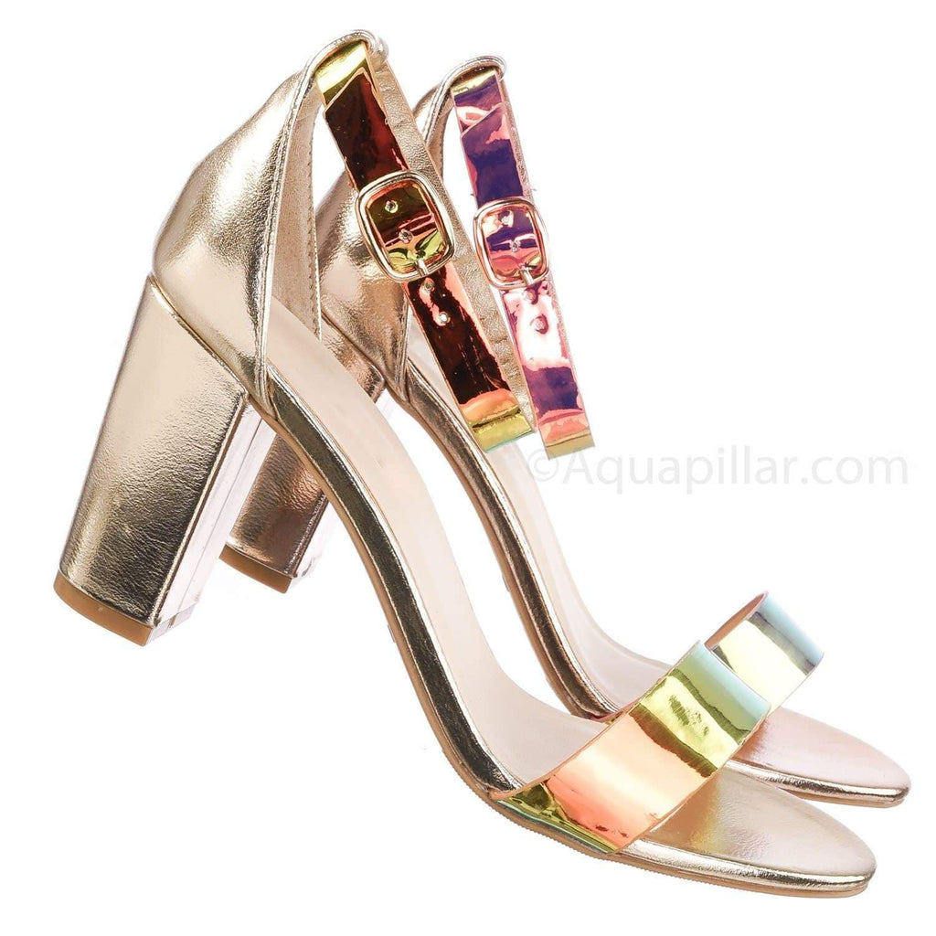 Mermaid Green / Striking28 MerPu Hologram Chunky Block Heel Sandal - Women Ankle Strap Heeled Shoes