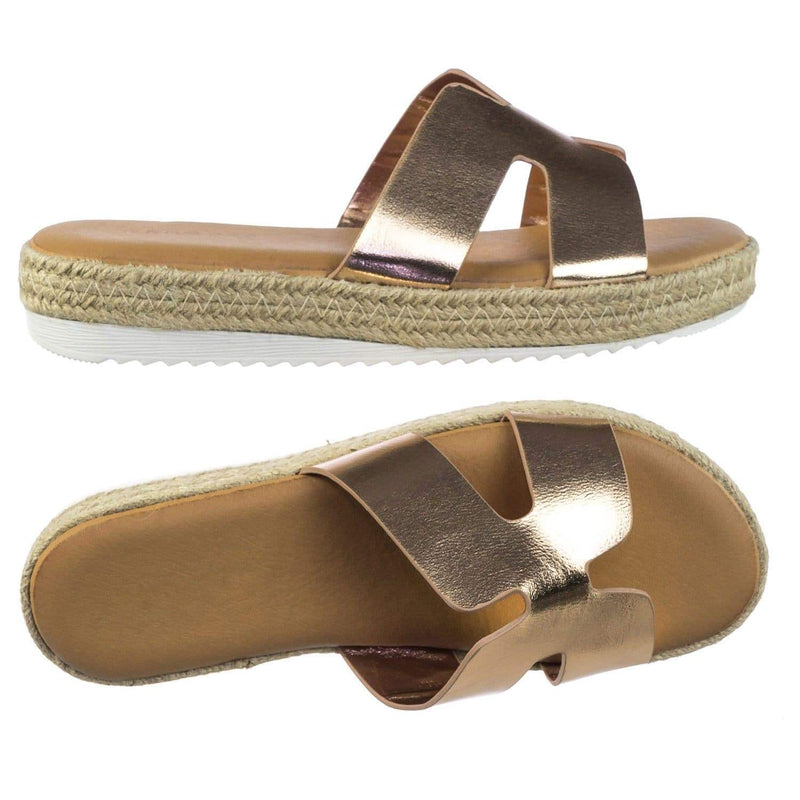 Superb01 RoseGold Espadrille Rope Wrap Flatform Platform Slide Slipper w White Outsole